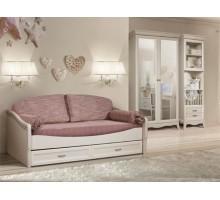 Кровать Алма боковая штрих/выбеленный дуб