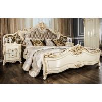 Кровать Леонардо крем глянец