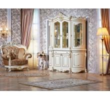 Сервант витрина Лоренцо 4-х дверная крем