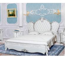 Кровать Зефир белый глянец с серебром